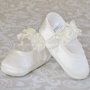 cd0c2a4077bb Baby Girls Ivory Satin Flower Rosette Christening Shoes -  childrensspecialoccasionwear.co.uk